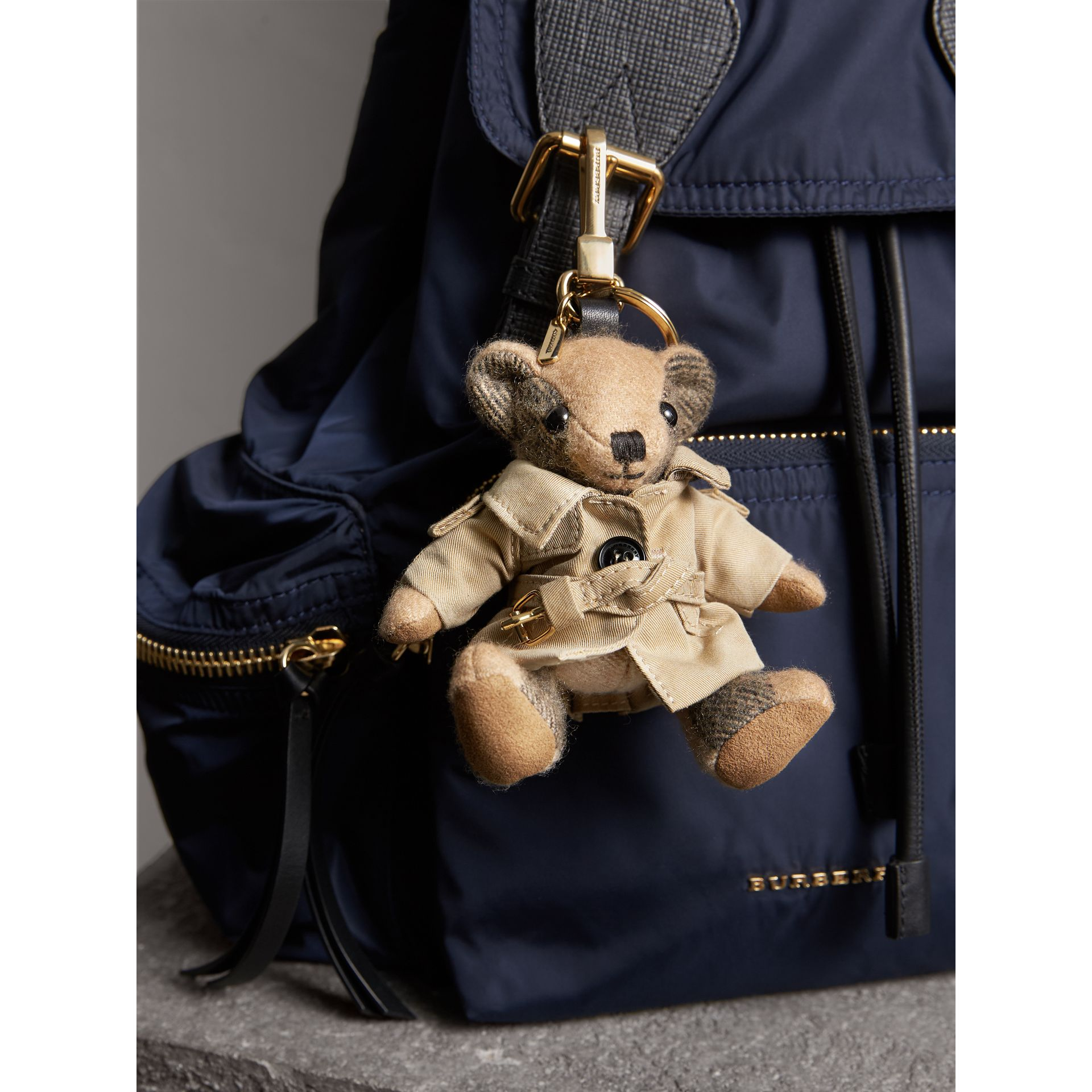 Thomas Bear Charm in Trench Coat in Camel | Burberry Australia - gallery image 2