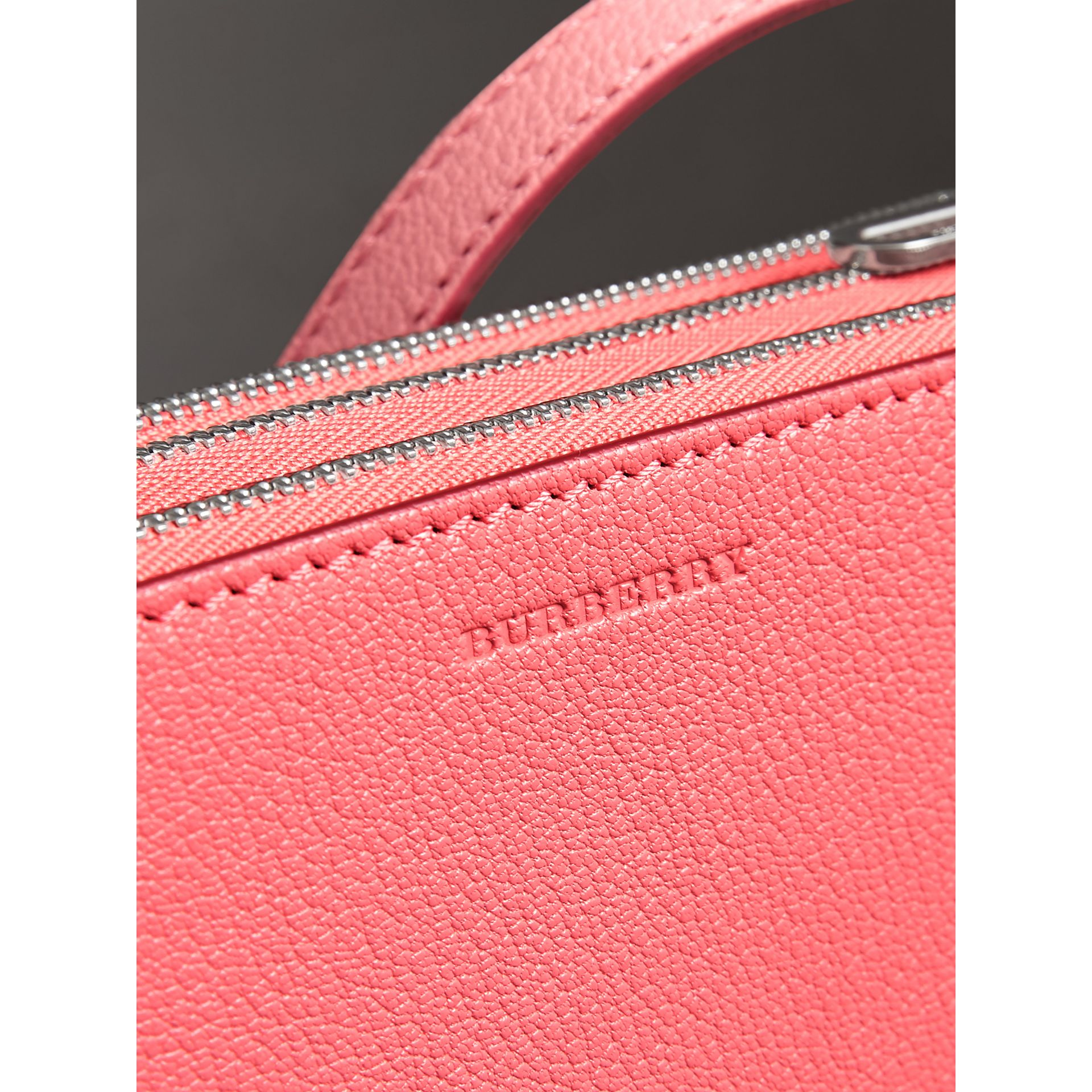 Triple Zip Grainy Leather Crossbody Bag in Bright Coral Pink - Women | Burberry Australia - gallery image 1
