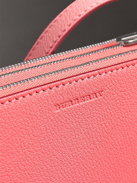 Triple Zip Grainy Leather Crossbody Bag in Bright Coral Pink - Women | Burberry - cell image 1