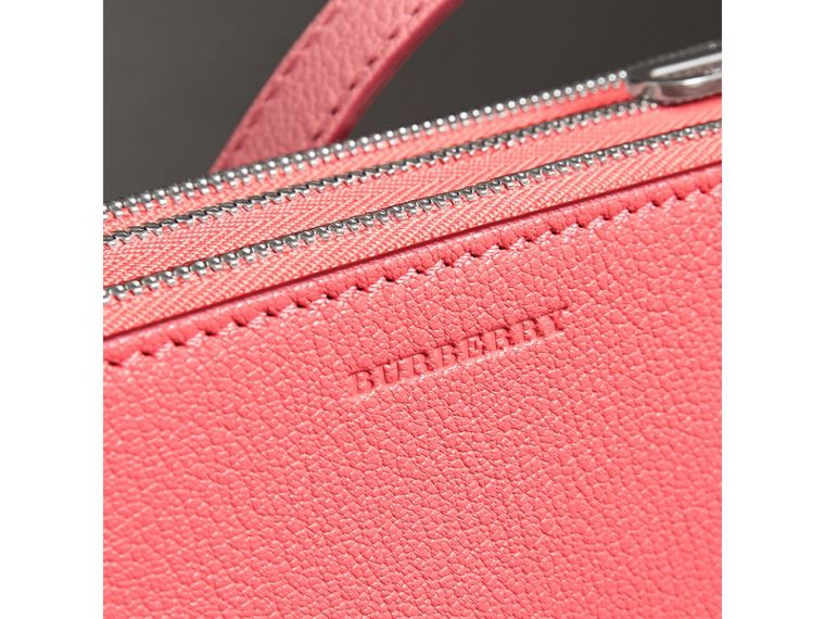 Triple Zip Grainy Leather Crossbody Bag in Bright Coral Pink - Women | Burberry United Kingdom - cell image 1