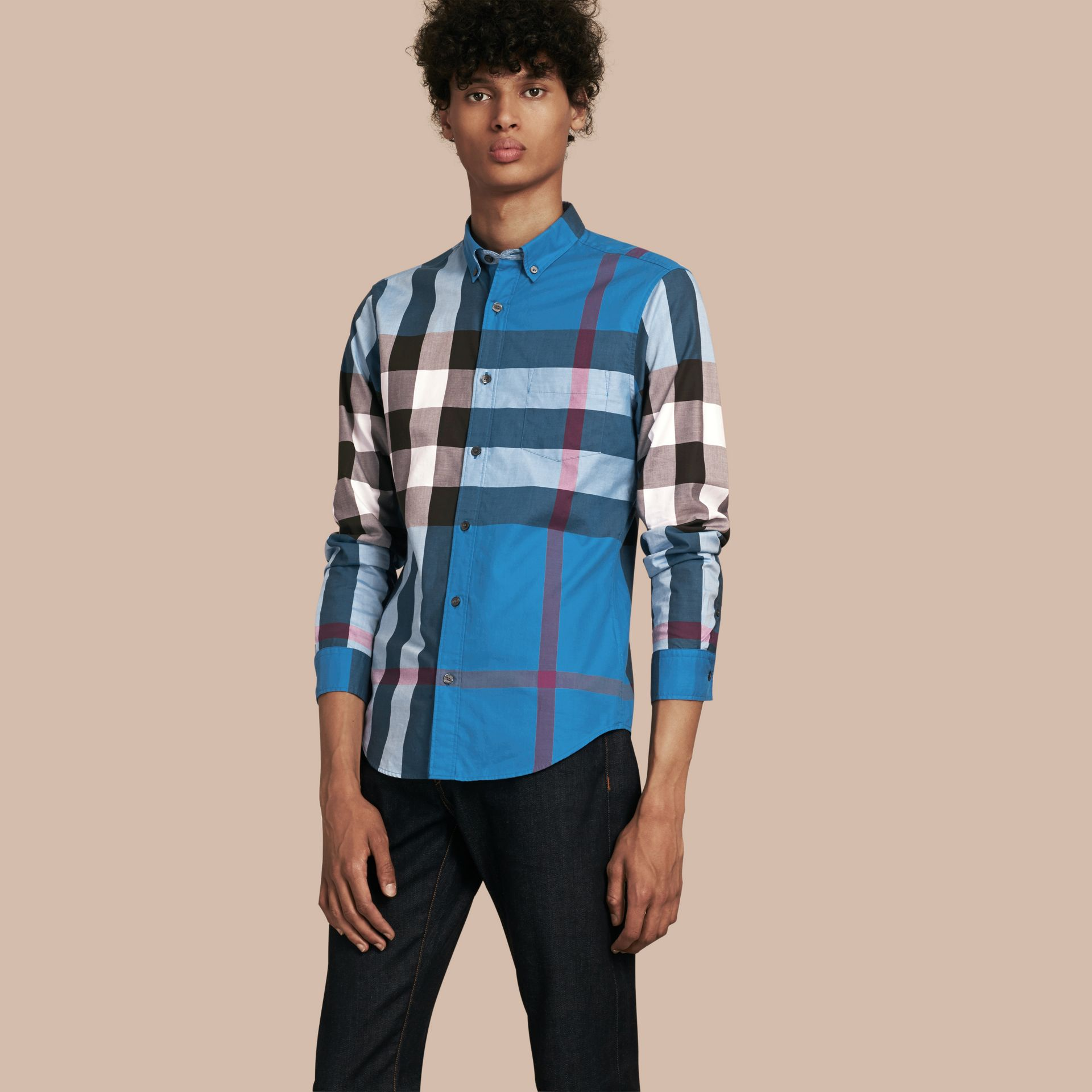 Marine blue Check Cotton Shirt Marine Blue - gallery image 1