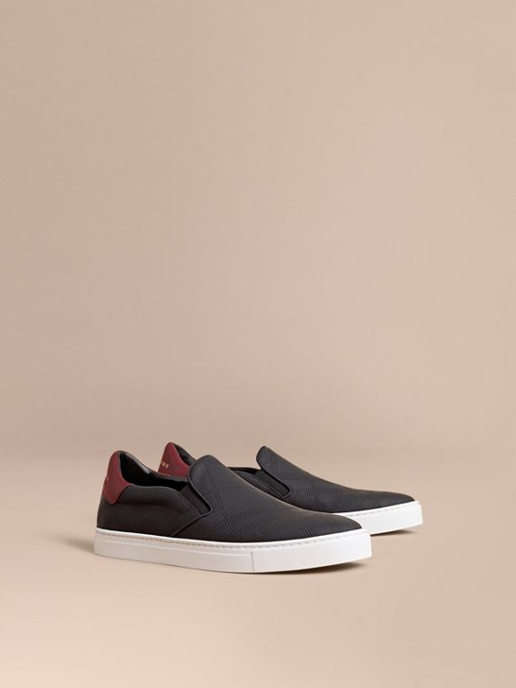 Perforated Check Leather Slip-on Trainers