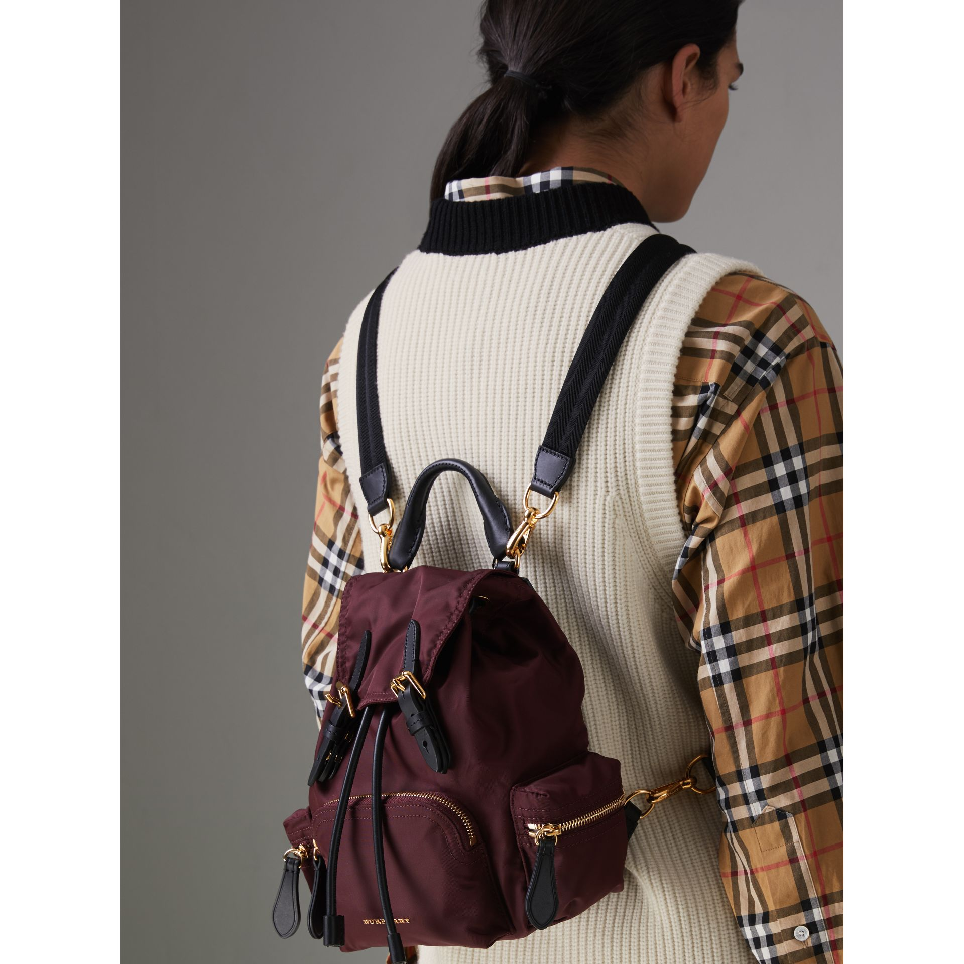 The Small Crossbody Rucksack in Nylon in Burgundy Red - Women | Burberry United Kingdom - gallery image 3