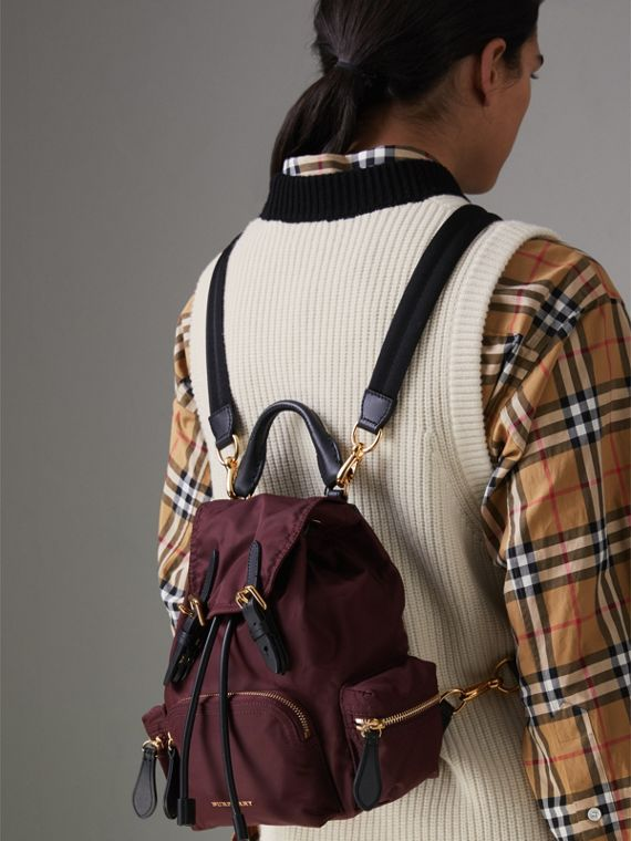 The Small Crossbody Rucksack in Nylon in Burgundy Red - Women | Burberry - cell image 3