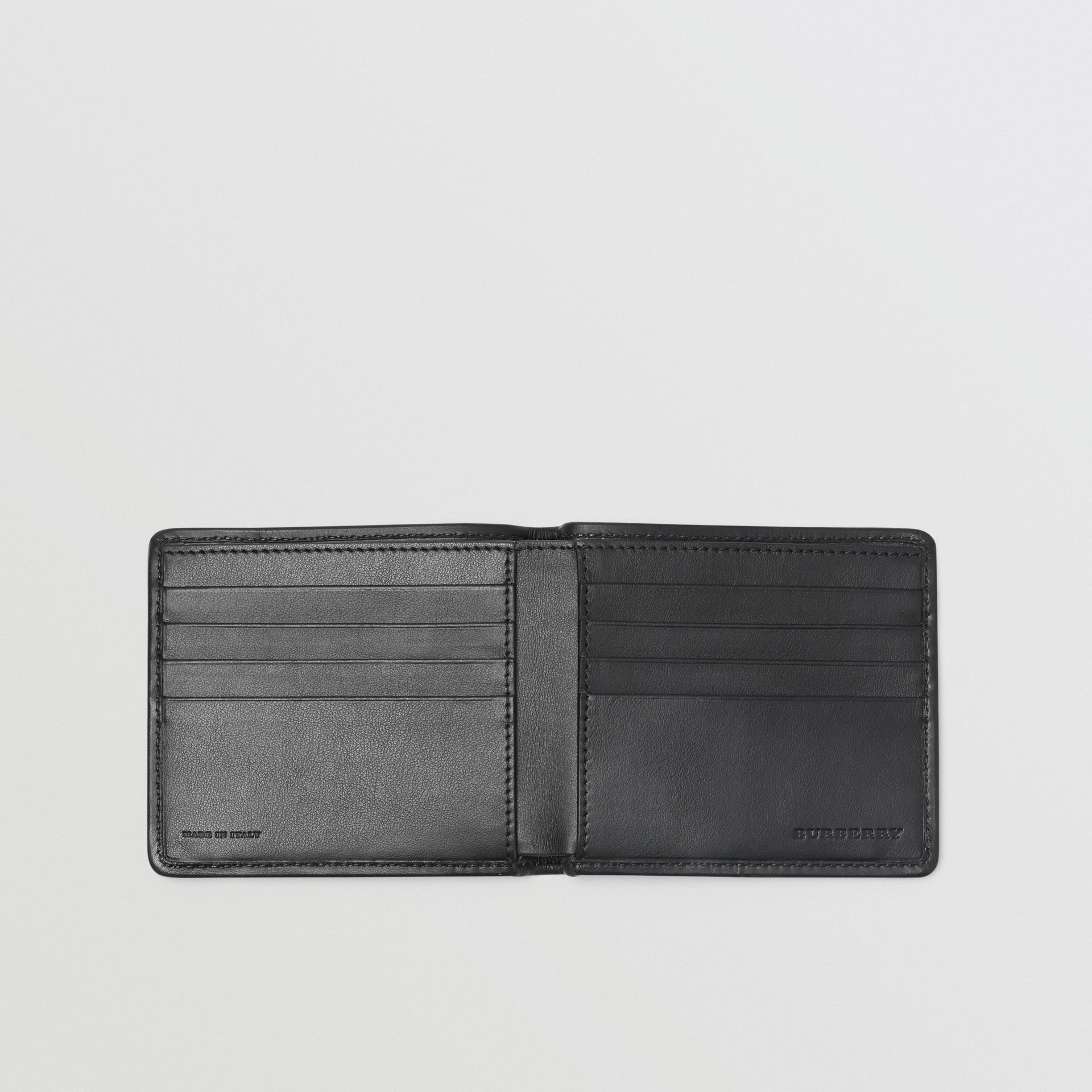 1983 Check and Leather International Bifold Wallet in Black - Men | Burberry Australia - gallery image 3