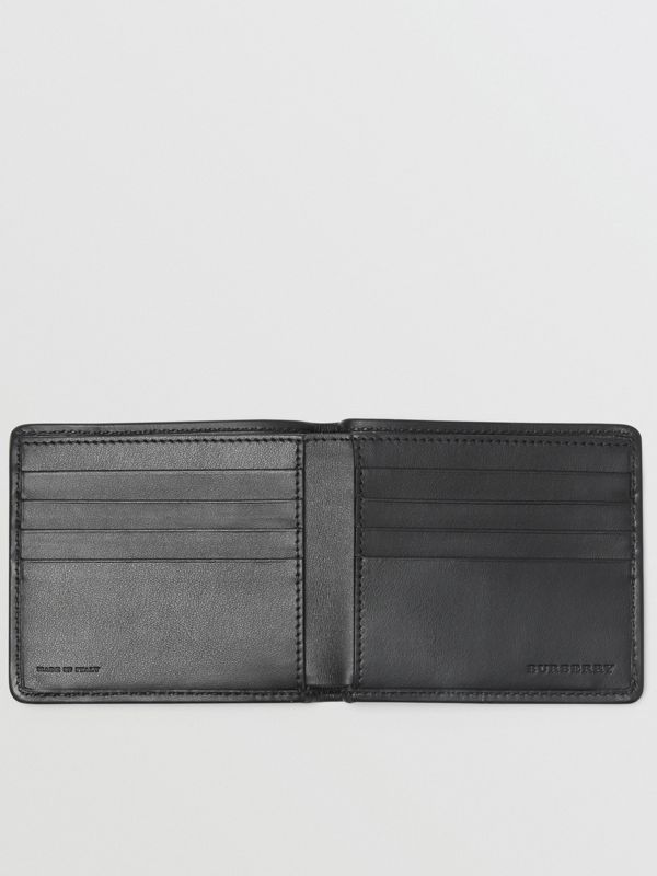 1983 Check and Leather International Bifold Wallet in Black - Men | Burberry Australia - cell image 3