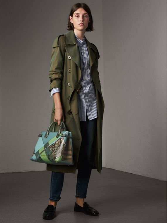 The Medium Banner in Patchwork Leather and Python in Celadon Blue - Women | Burberry - cell image 2