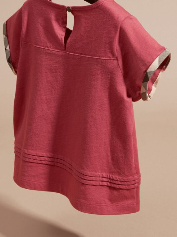 Dark plum pink Pleat Detail Check Cotton T-Shirt Dark Plum Pink - cell image 3