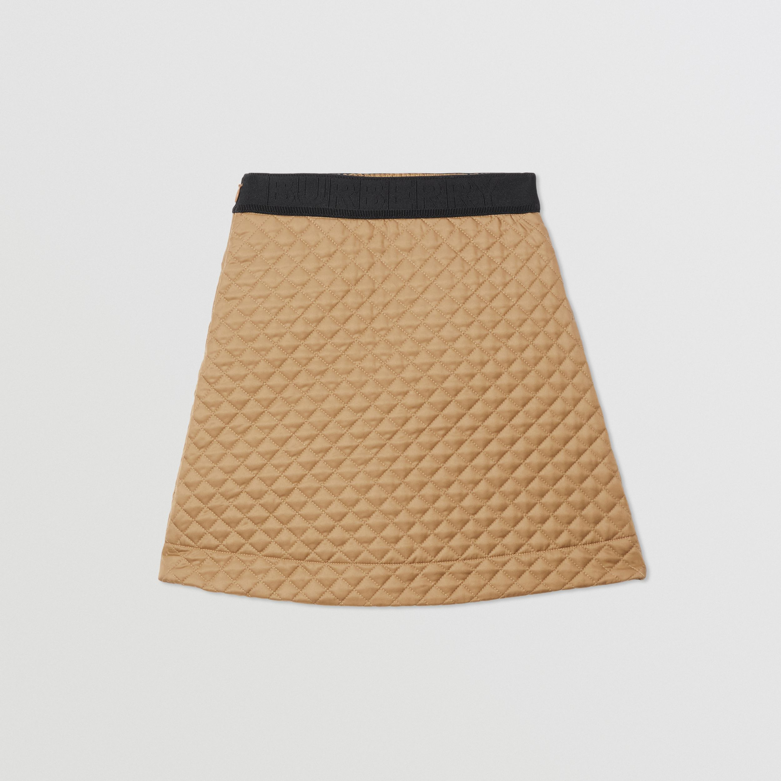 Monogram Quilted Panel Recycled Polyester Skirt in Honey | Burberry - 4