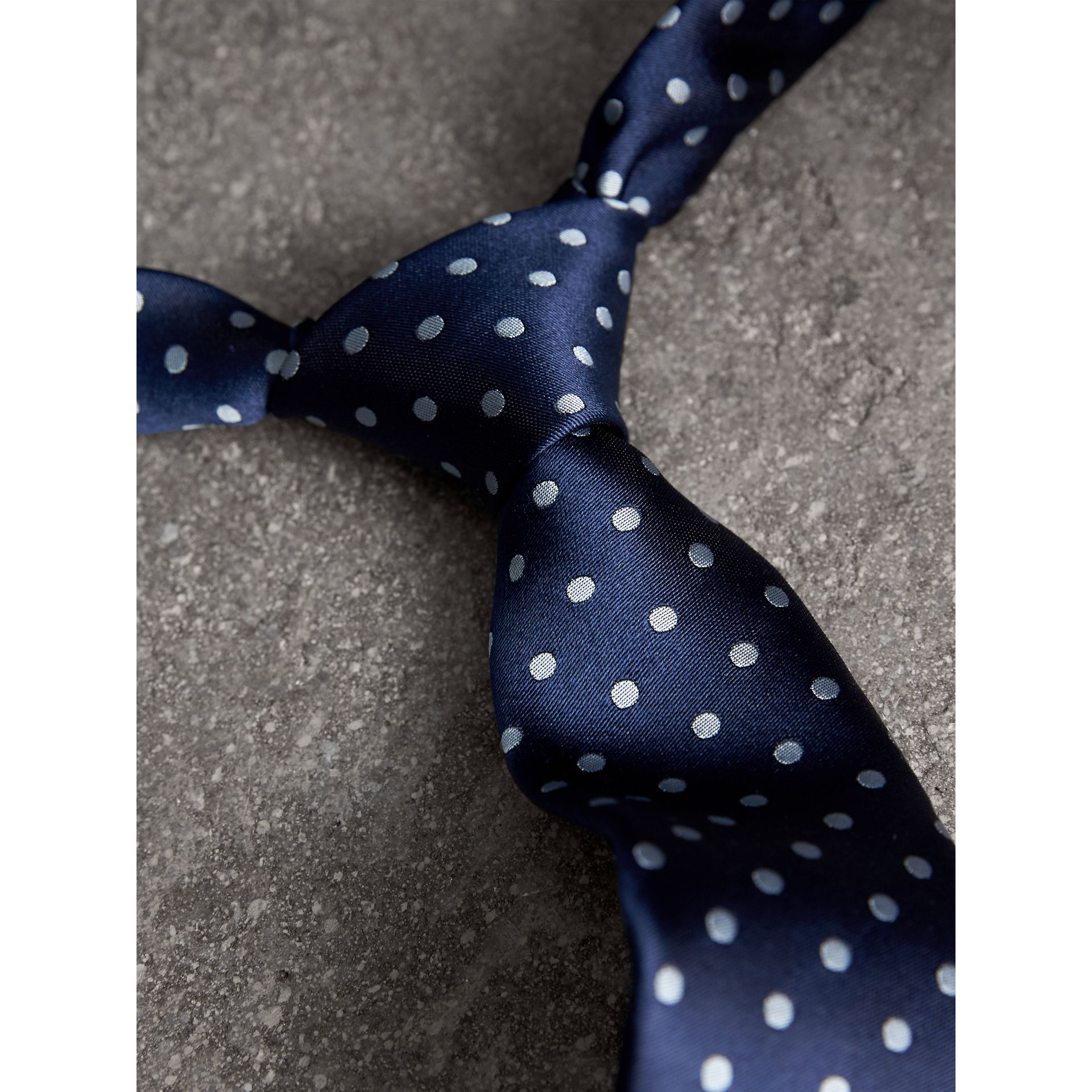 Modern Cut Polka-dot Silk Tie in Bright Navy - Men | Burberry Canada - gallery image 1