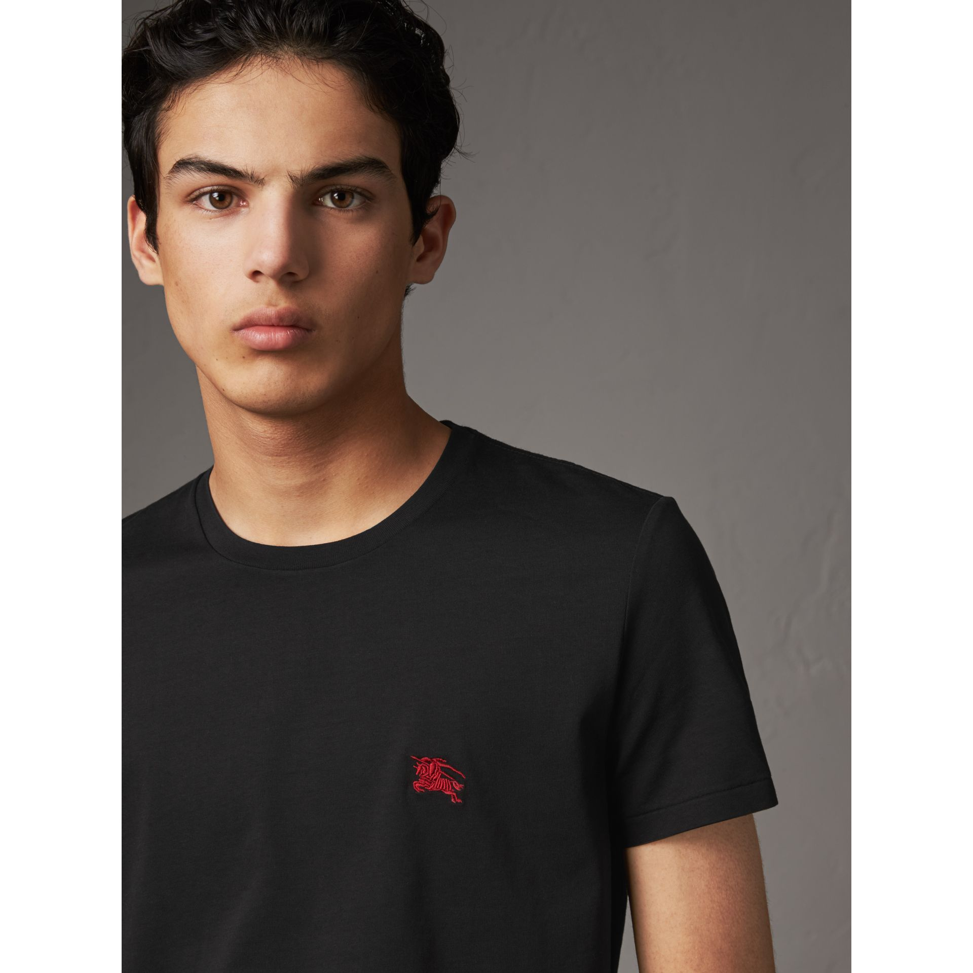 Cotton Jersey T-shirt in Black - Men | Burberry United Kingdom - gallery image 2