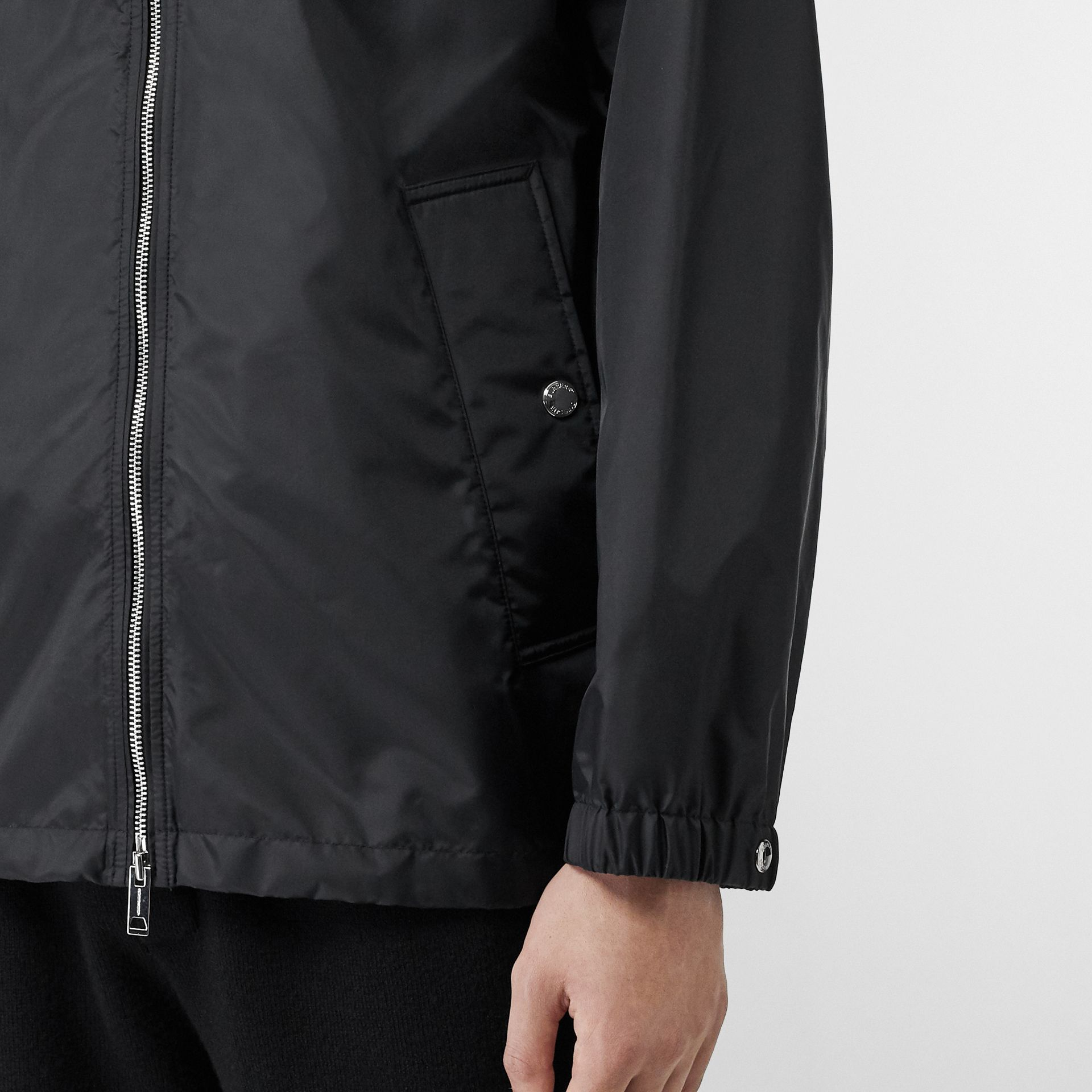 Monogram Motif Lightweight Hooded Jacket in Black - Men | Burberry Canada - gallery image 4
