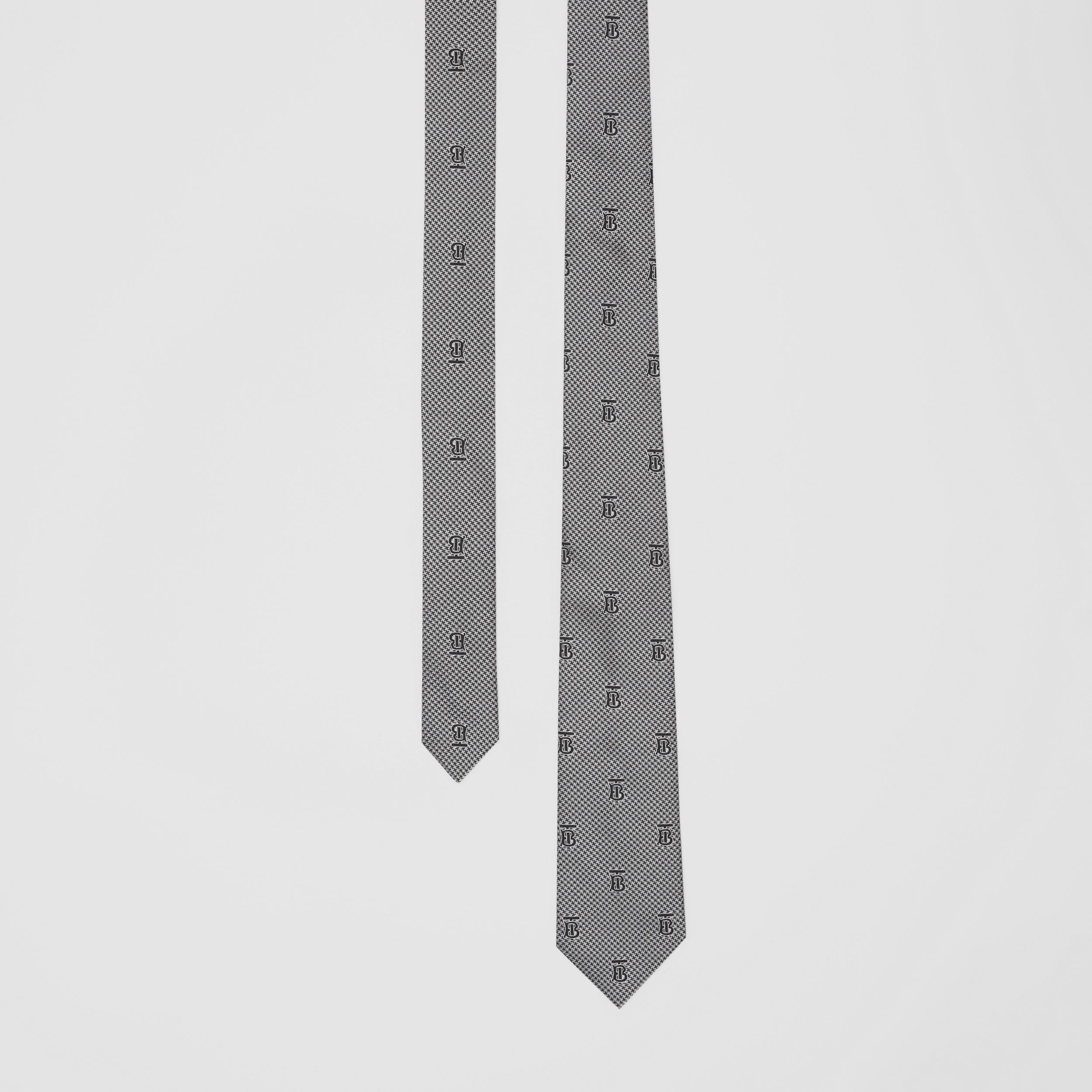 Classic Cut Puppytooth Check Silk Tie in Pearl Grey - Men | Burberry - 1