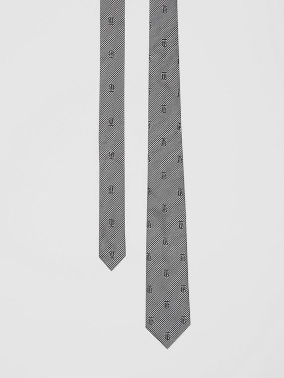 Classic Cut Puppytooth Check Silk Tie in Pearl Grey