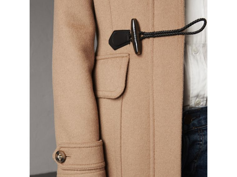 Detachable Fur Trim Wool Duffle Coat in Camel - cell image 1