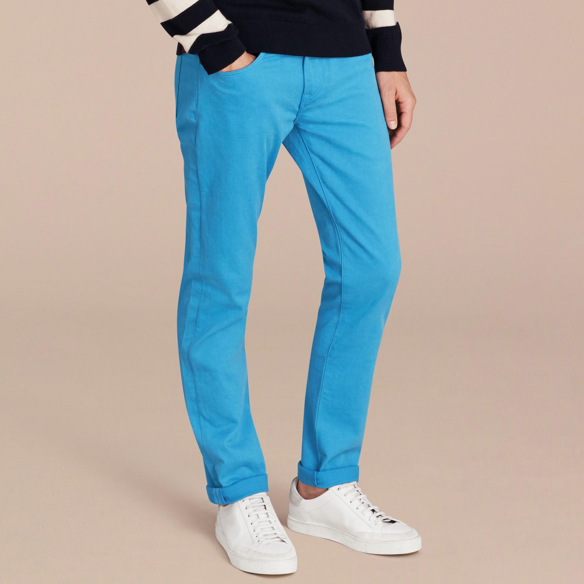 Slim Fit Japanese Stretch Denim Jeans Cerulean Blue - gallery image 7