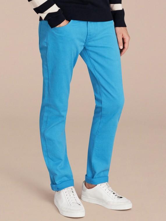 Узкие джинсы из эластичного японского денима Лазурно-синий
