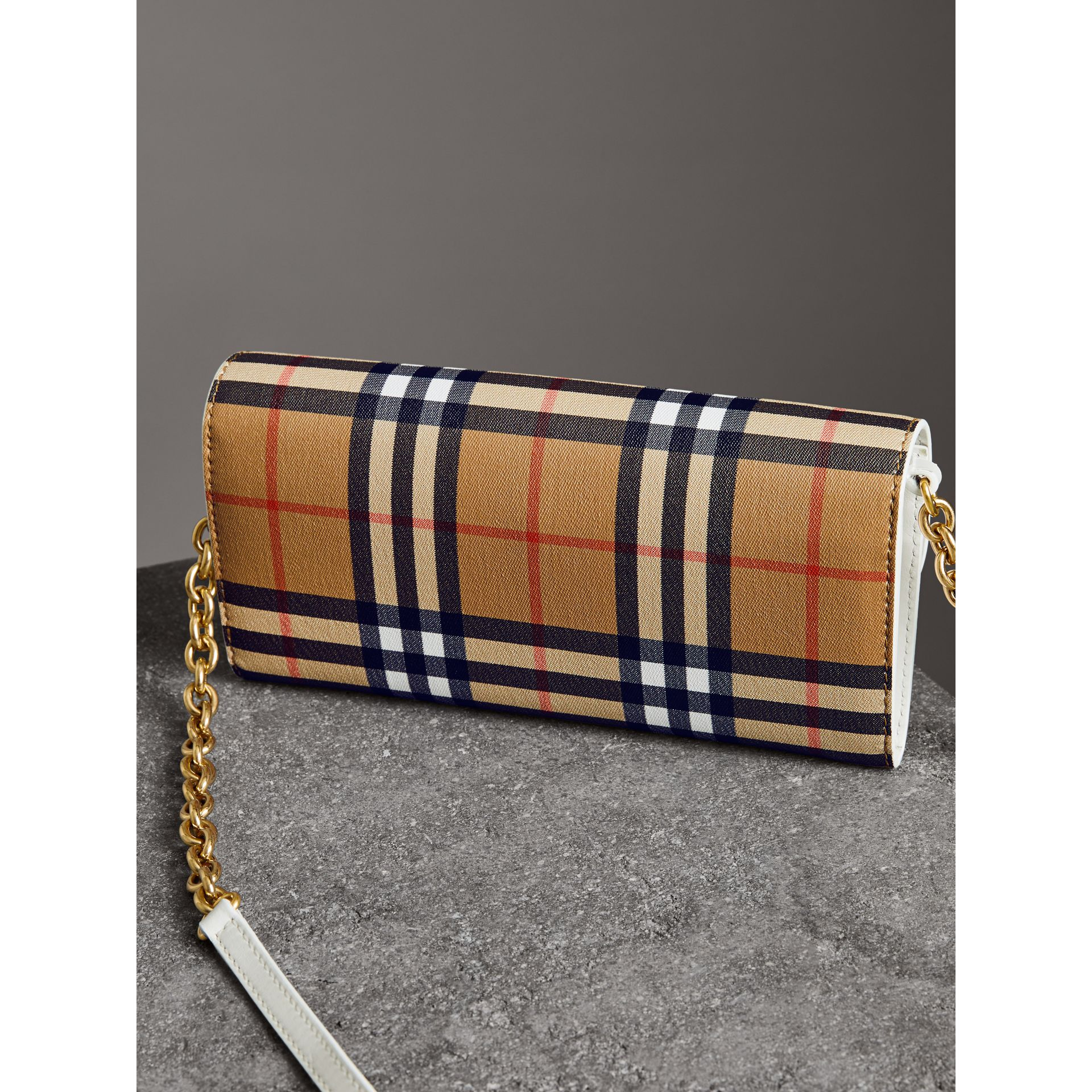 Vintage Check and Leather Wallet with Chain in Chalk White - Women | Burberry Canada - gallery image 4