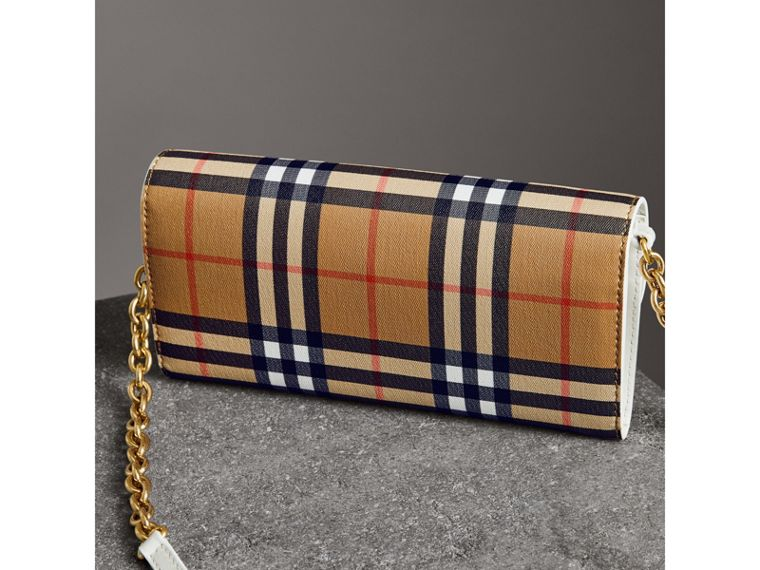 Vintage Check and Leather Wallet with Chain in Chalk White - Women | Burberry - cell image 4
