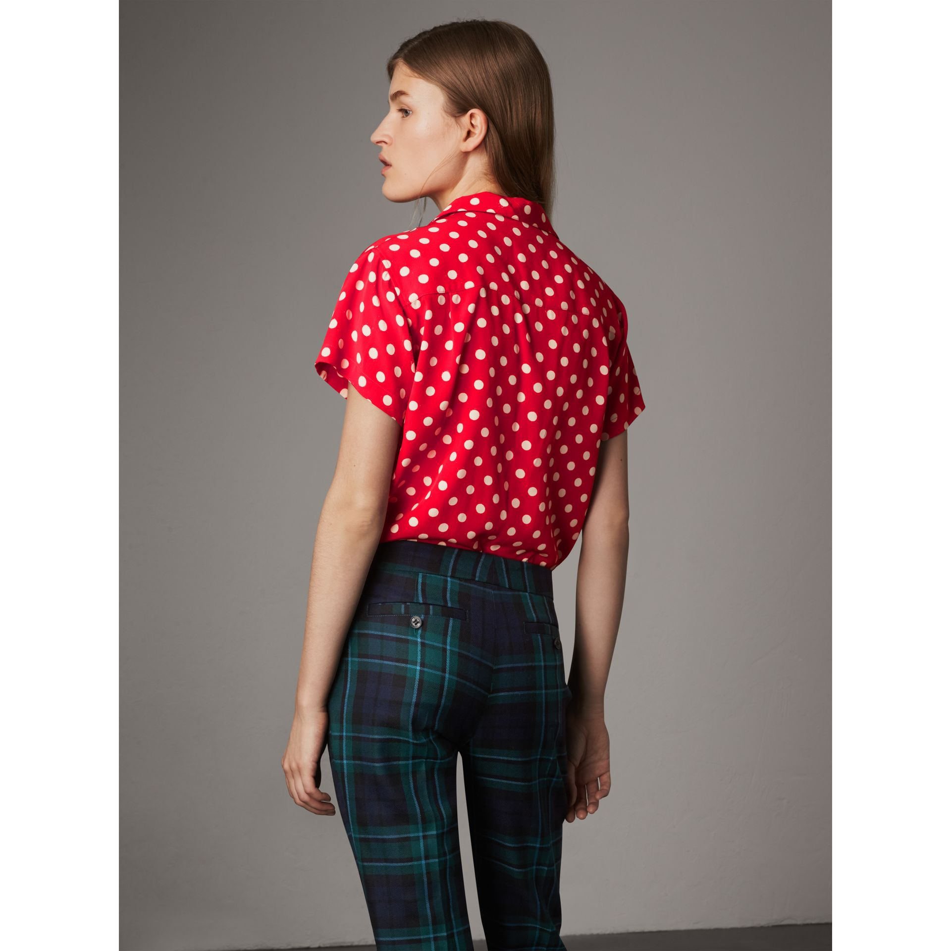Short-sleeve Polka-dot Silk Shirt in Bright Orange Red - Women | Burberry - gallery image 2