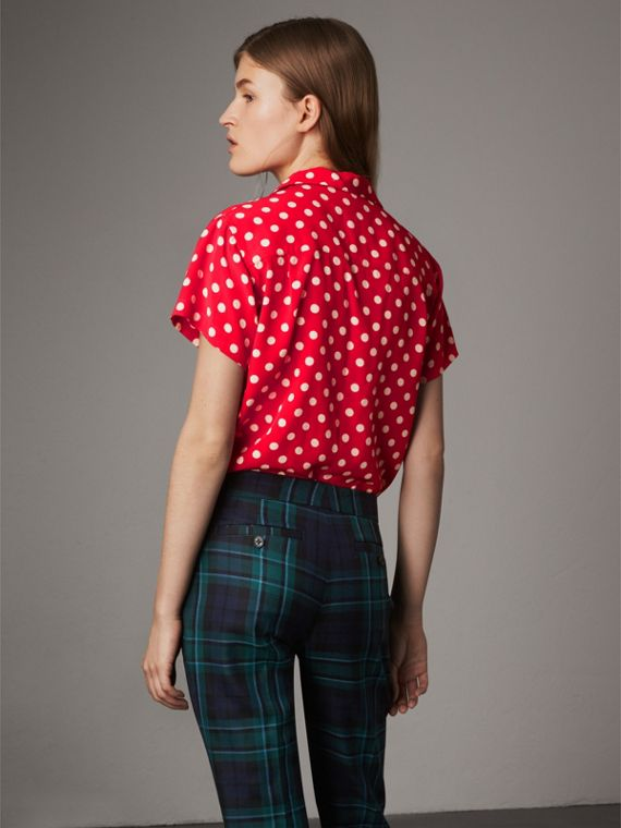 Short-sleeve Polka-dot Silk Shirt in Bright Orange Red - Women | Burberry - cell image 2