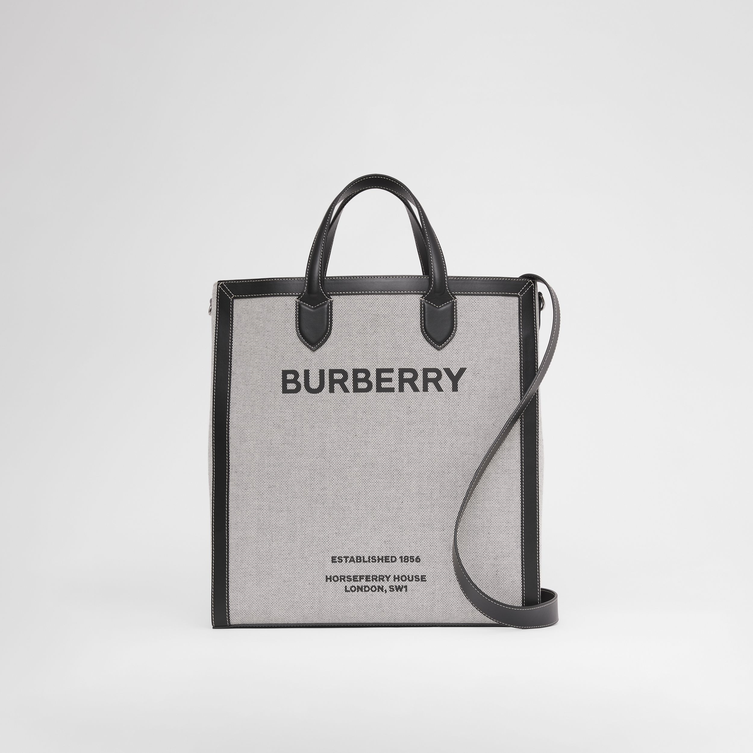 Horseferry Print Canvas and Leather Tote in Black | Burberry - 1