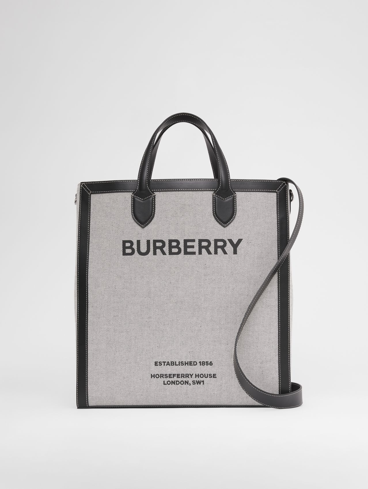 Horseferry Print Canvas and Leather Tote in Black