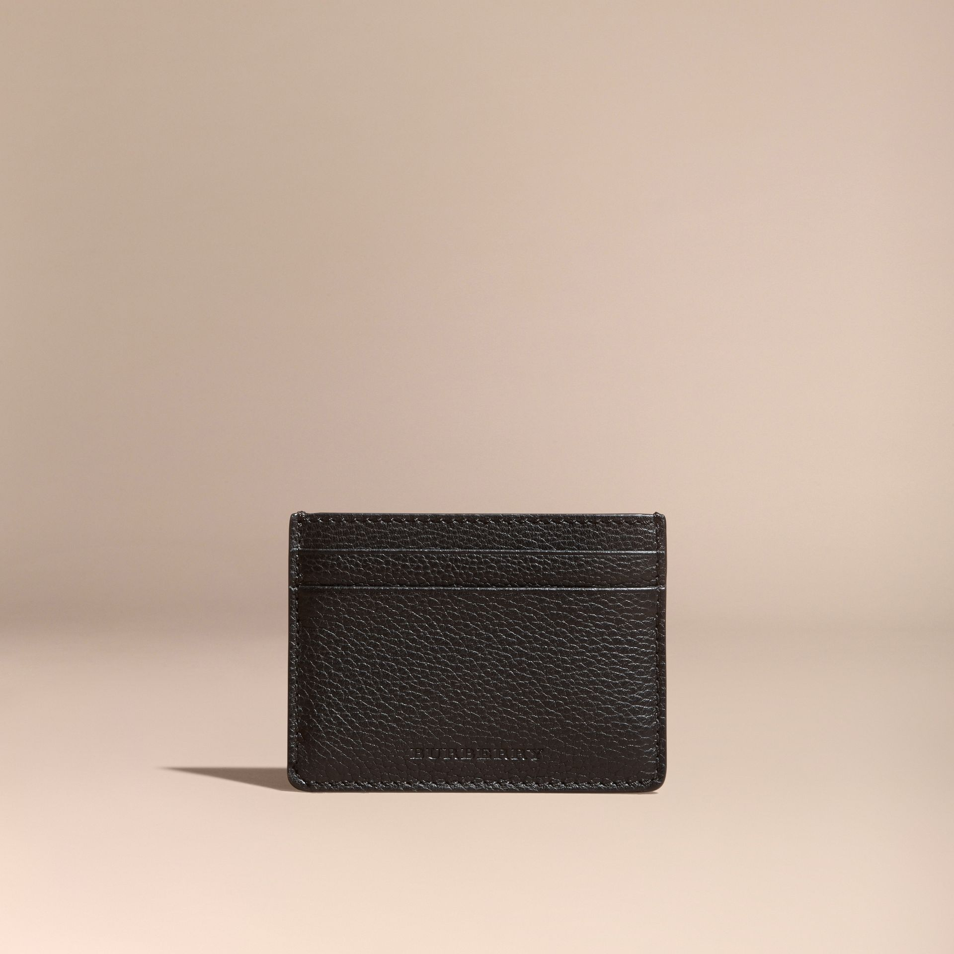 Black Grainy London Leather Card Case Black - gallery image 7