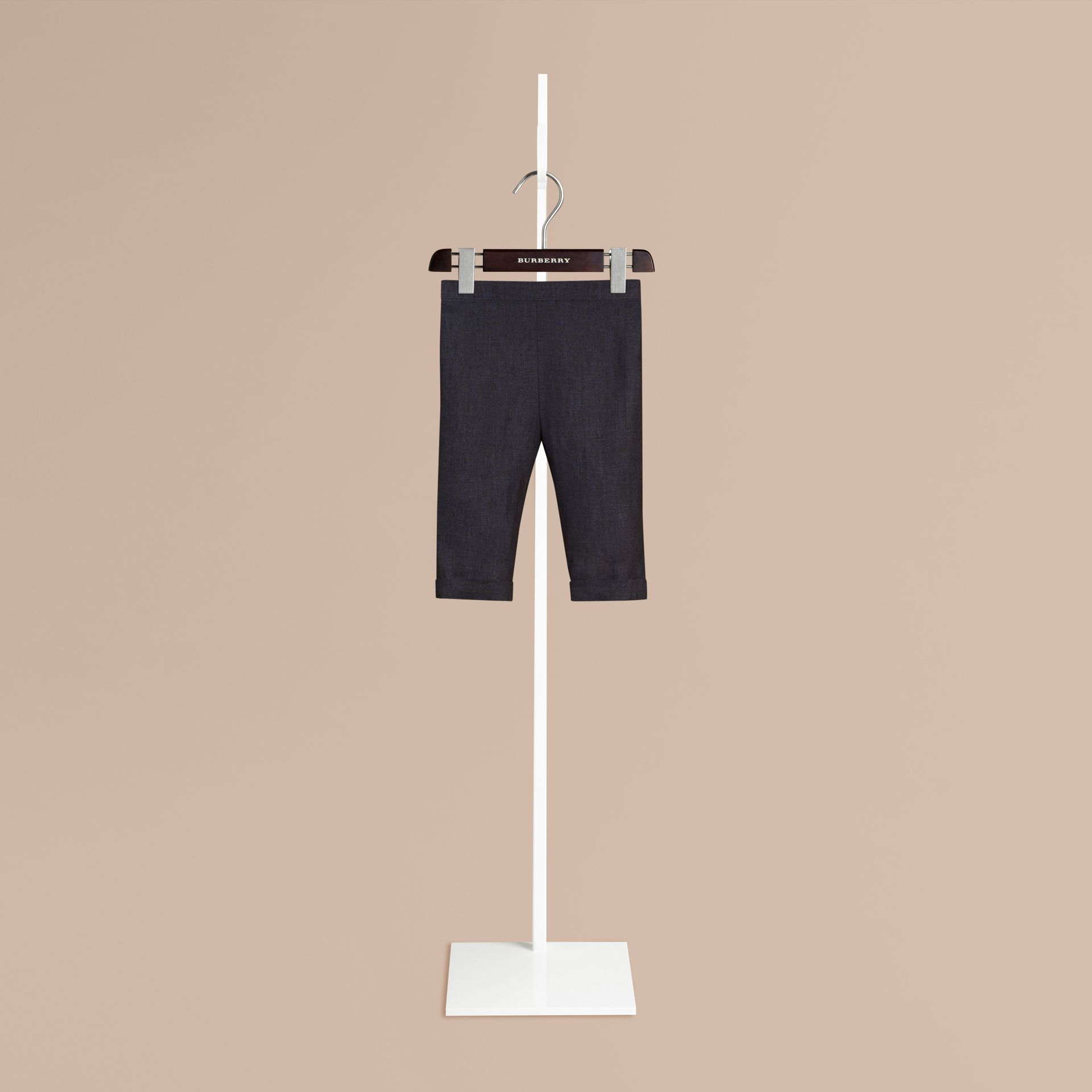 Navy Linen Turn-up Trousers - gallery image 1