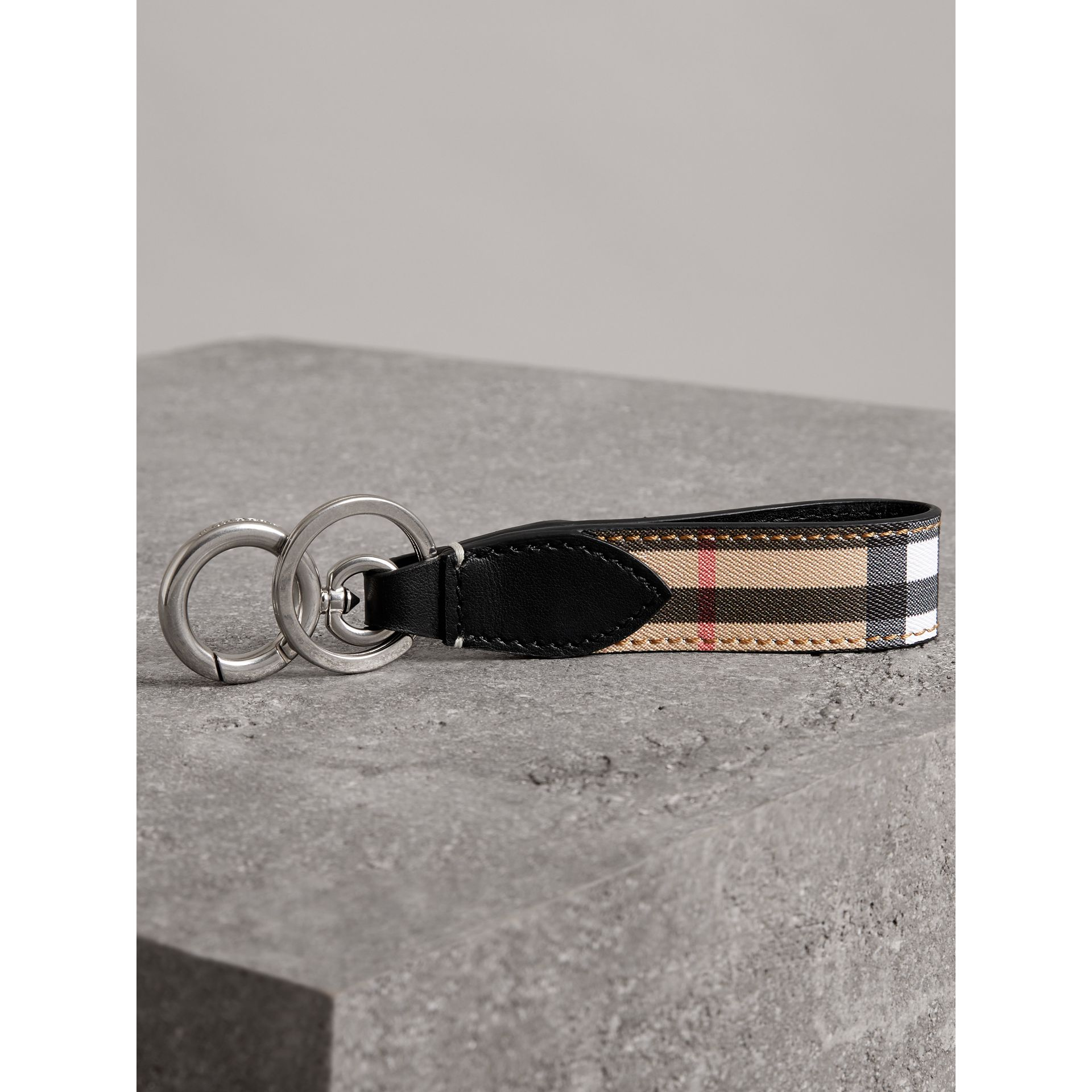 Vintage Check and Leather Key Ring in Black - Men | Burberry - gallery image 2
