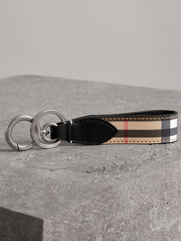 Vintage Check and Leather Key Ring in Black - Men | Burberry United Kingdom - cell image 2