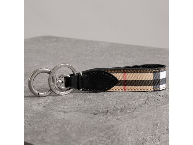 Vintage Check and Leather Key Ring in Black - Men | Burberry - cell image 2