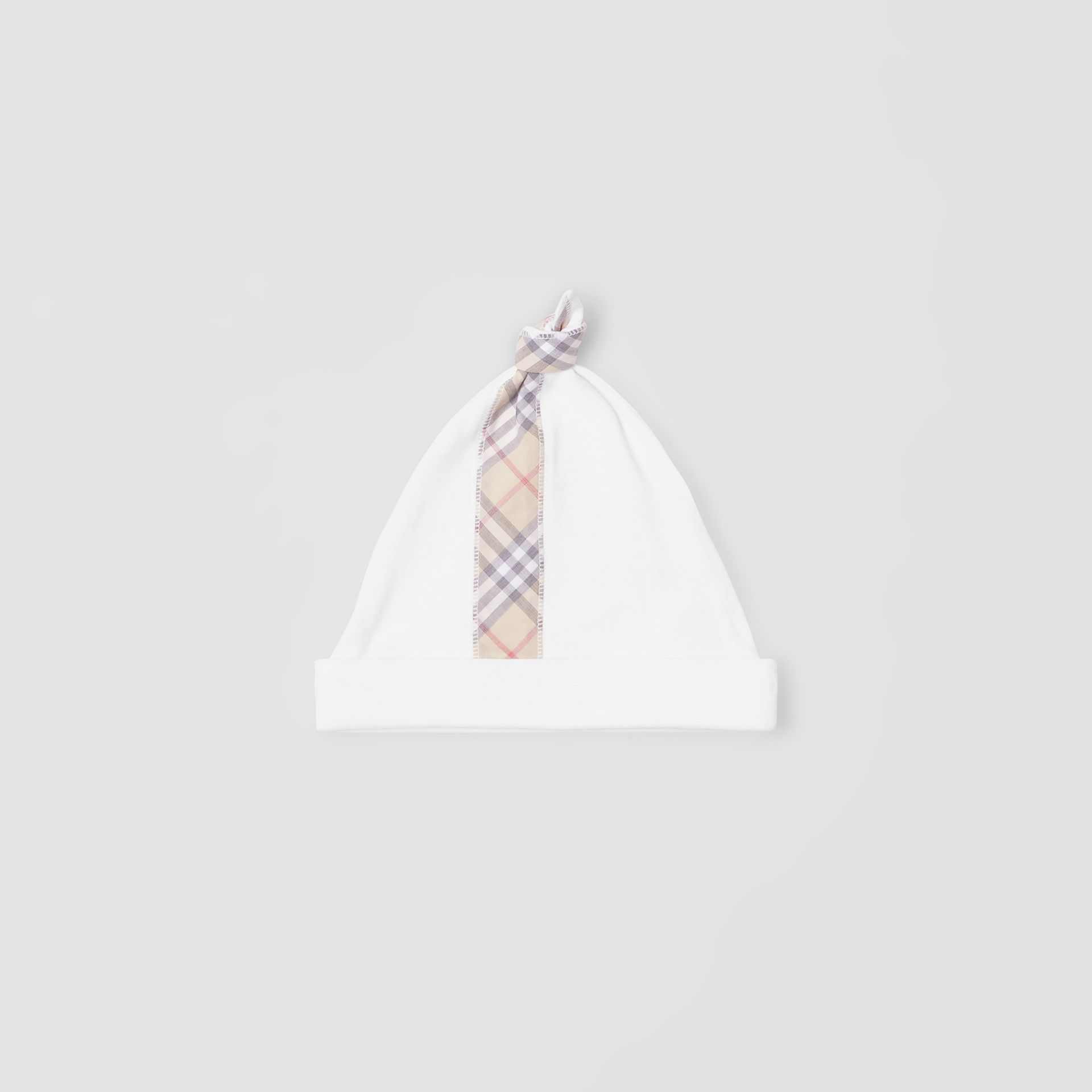 Check Detail Cotton Three-piece Baby Gift Set in White - Children | Burberry United States - gallery image 4