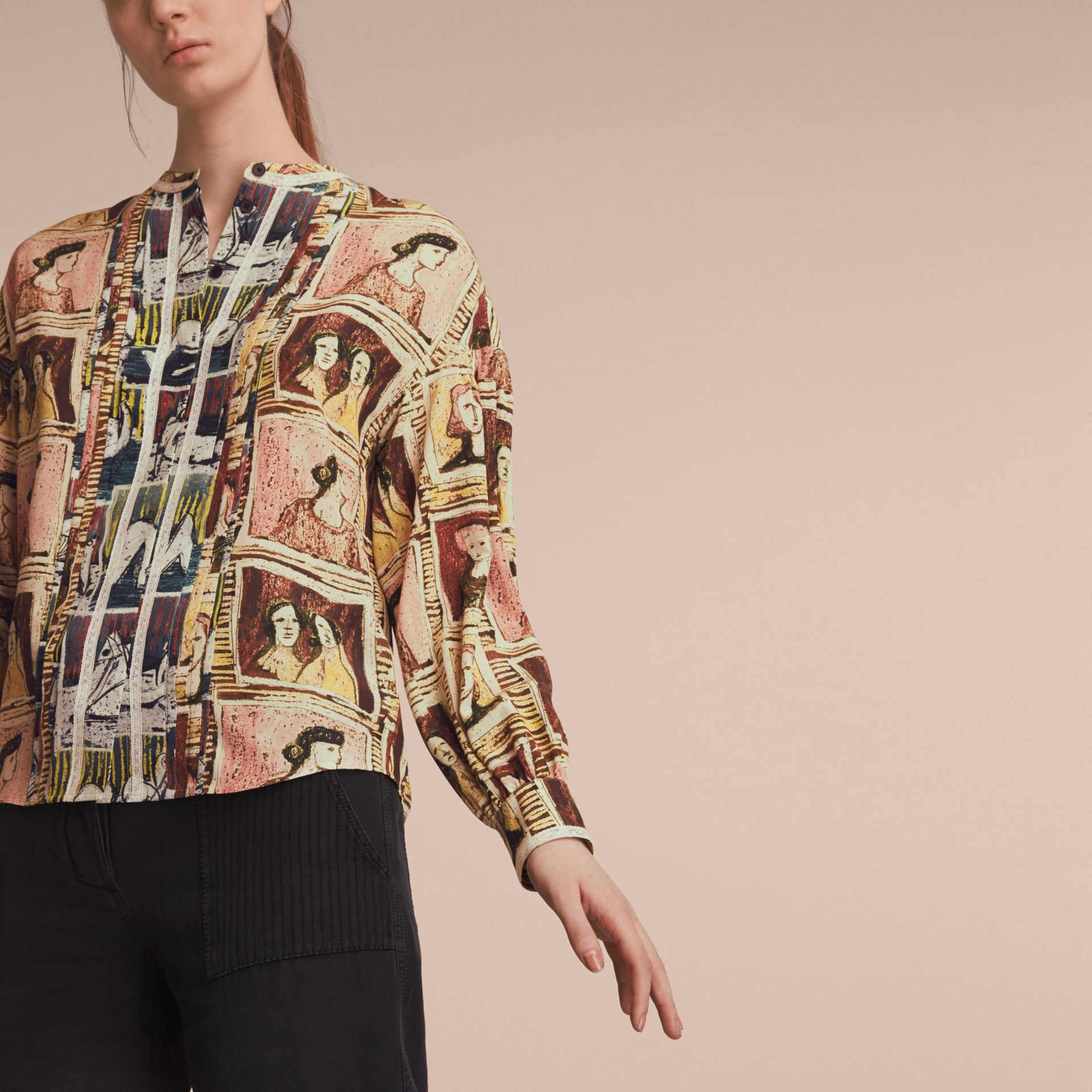 Framed Heads and Reclining Figures Print Silk Shirt in Umber Brown - Women | Burberry - gallery image 5