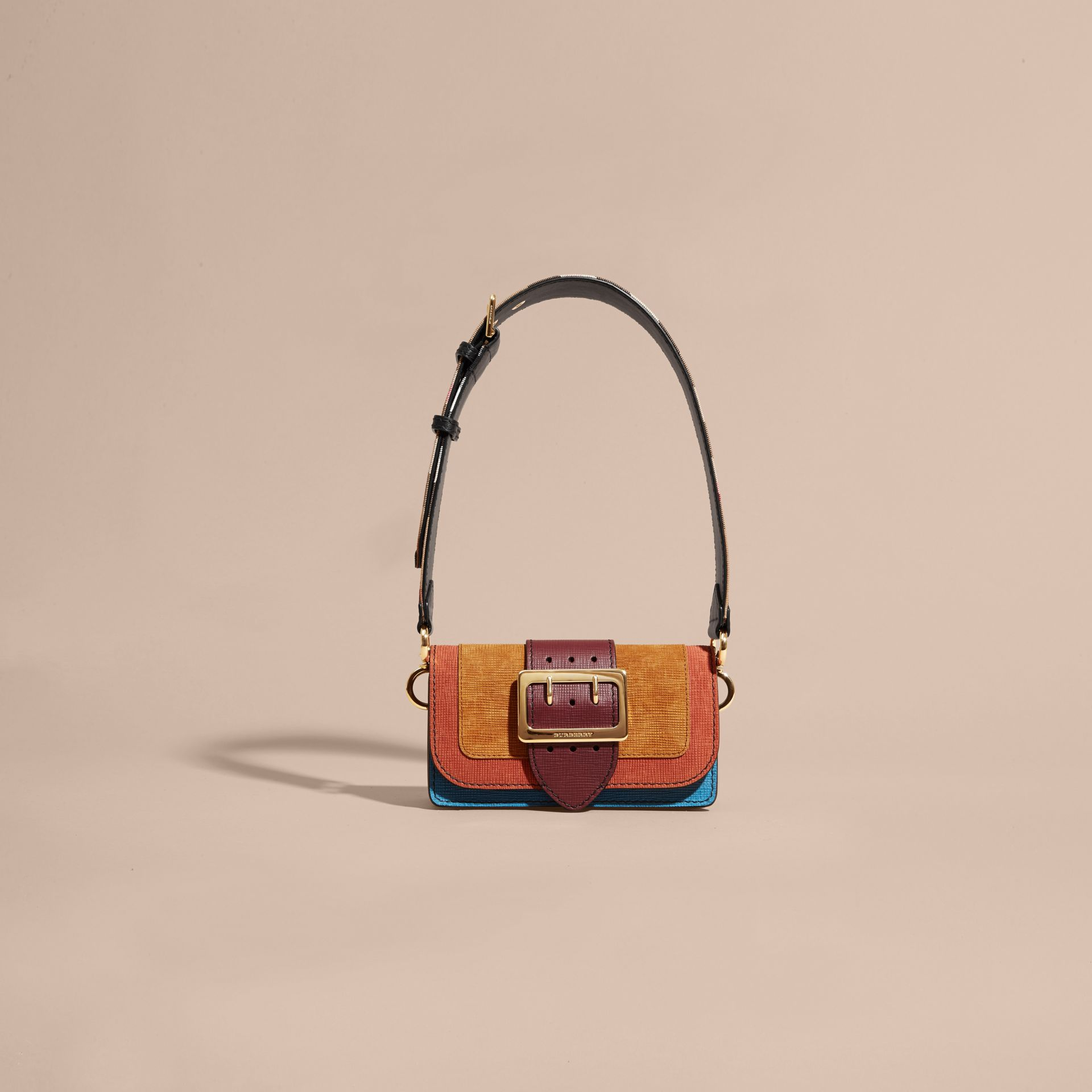 The Small Buckle Bag in Textured Leather Cognac - gallery image 9