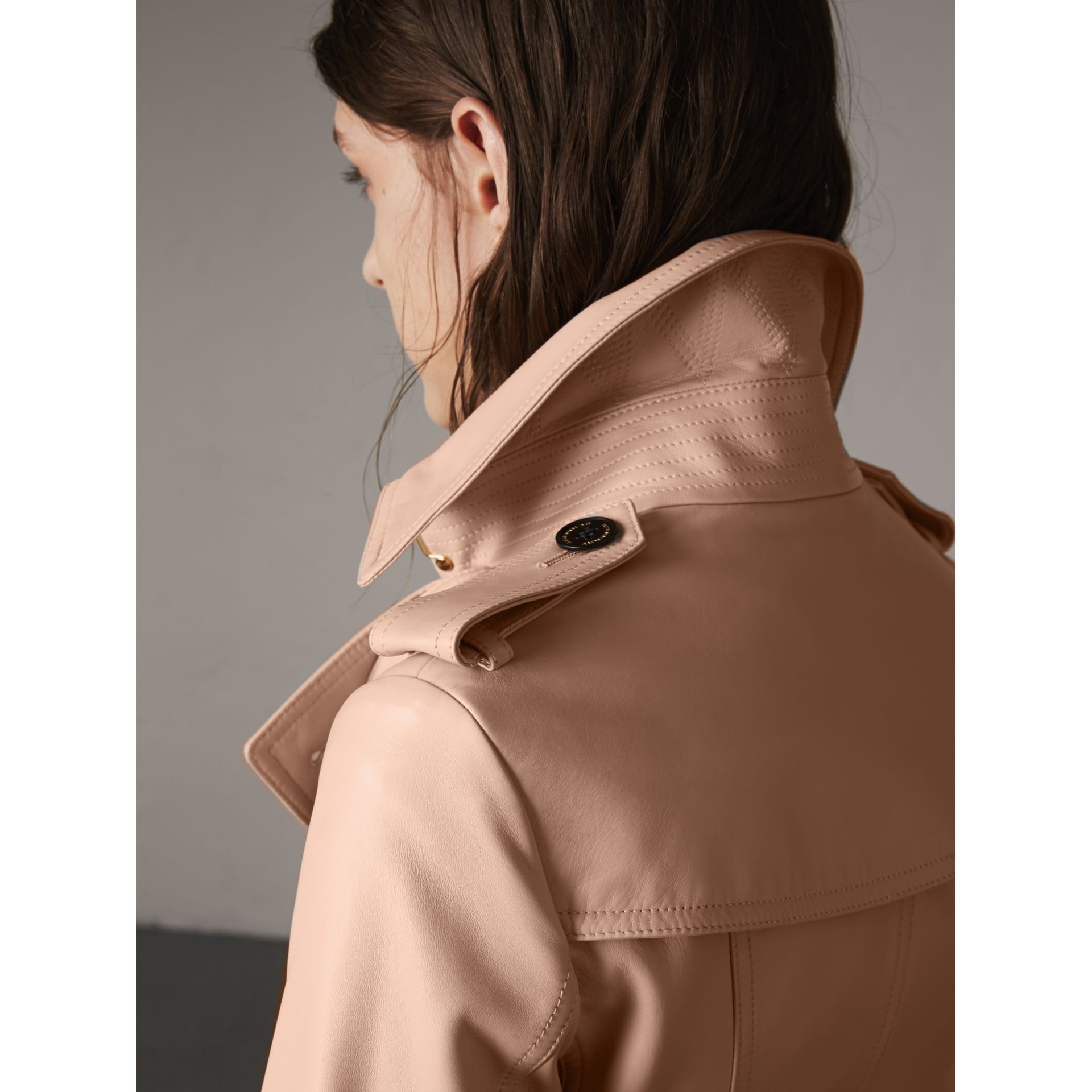 Lambskin Trench Coat in Pale Nude - Women | Burberry - gallery image 5
