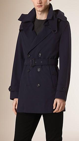 Trench-coat imperméable en seersucker à capuche amovible