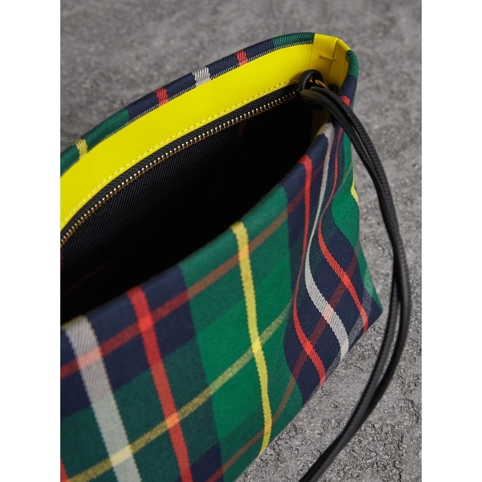 Tartan Cotton Clutch in Forest Green/deep Navy | Burberry United Kingdom - gallery image 6