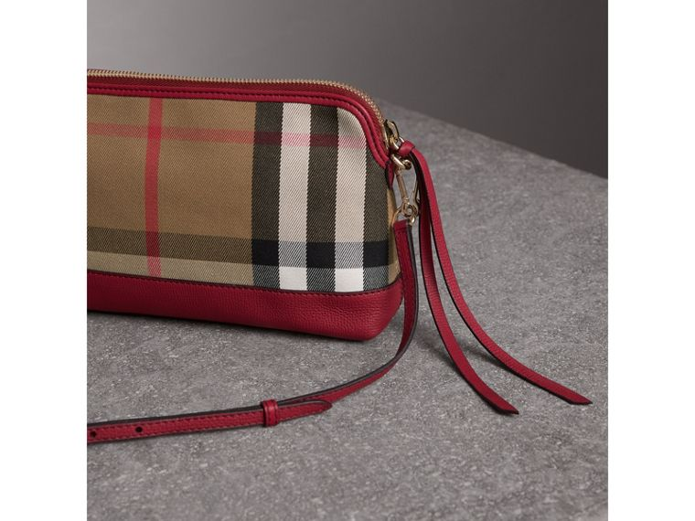 Clutch en coton House check et cuir (Rouge Feuille Morte) - Femme | Burberry - cell image 4