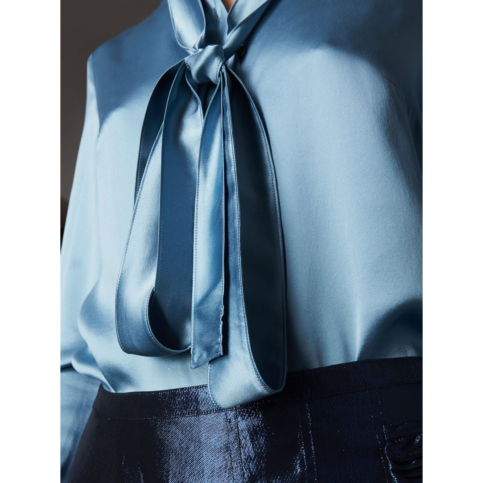 Silk Satin Tie-neck Shirt in Pale Blue - Women | Burberry United Kingdom - gallery image 1
