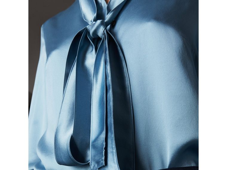 Silk Satin Tie-neck Shirt in Pale Blue - Women | Burberry United Kingdom - cell image 1