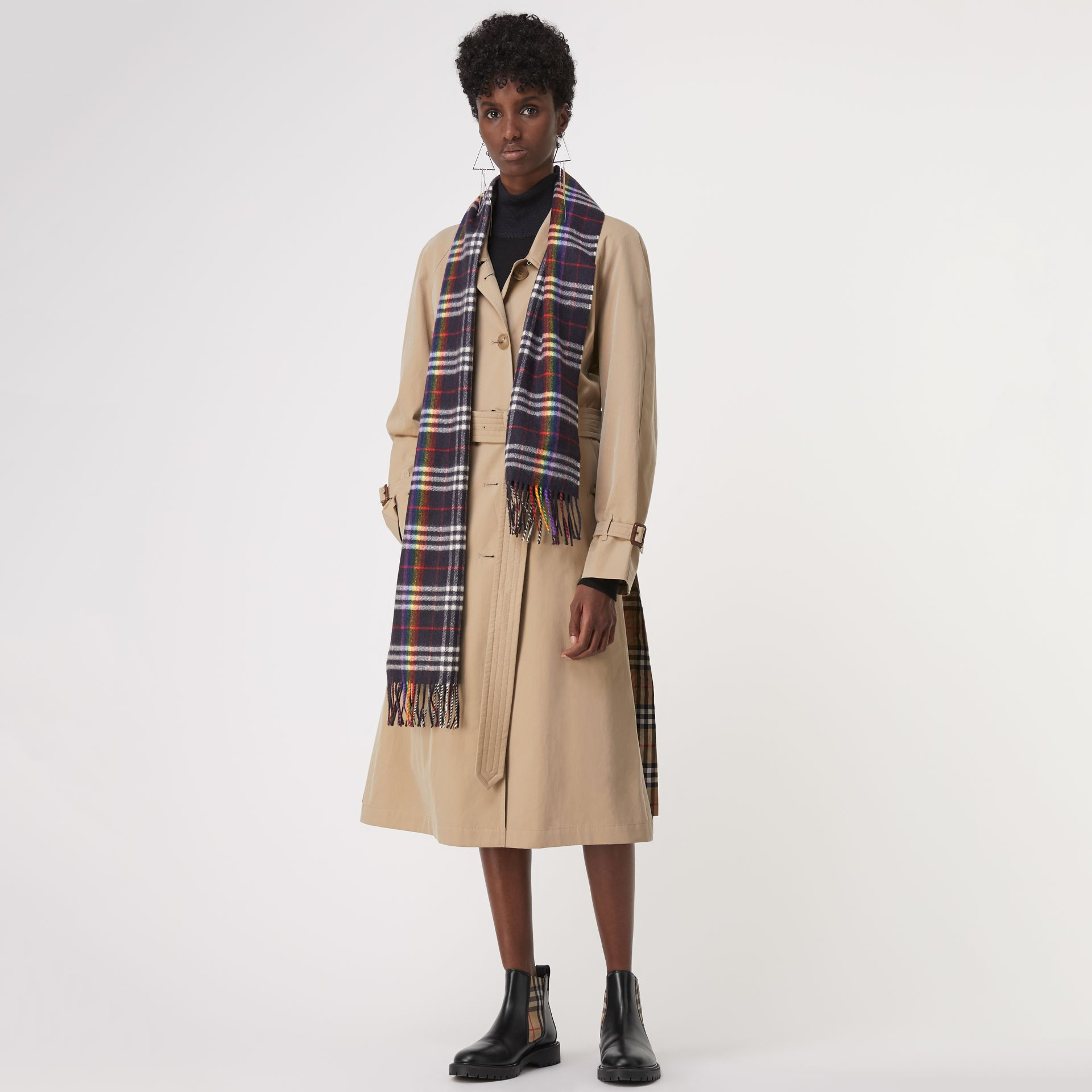 The Classic Rainbow Check Cashmere Scarf in Navy/rainbow | Burberry Australia - gallery image 2