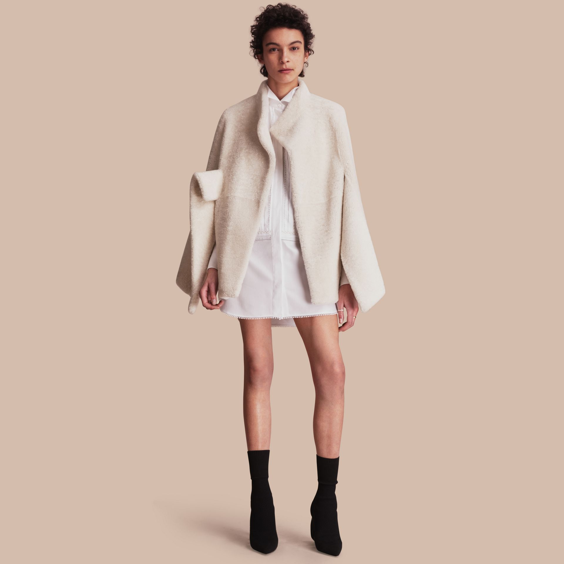 Sculptural Shearling Cape in White - Women | Burberry Canada - gallery image 1