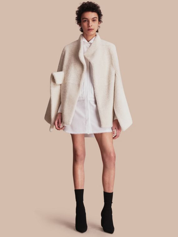 Sculptural Shearling Cape - Women | Burberry