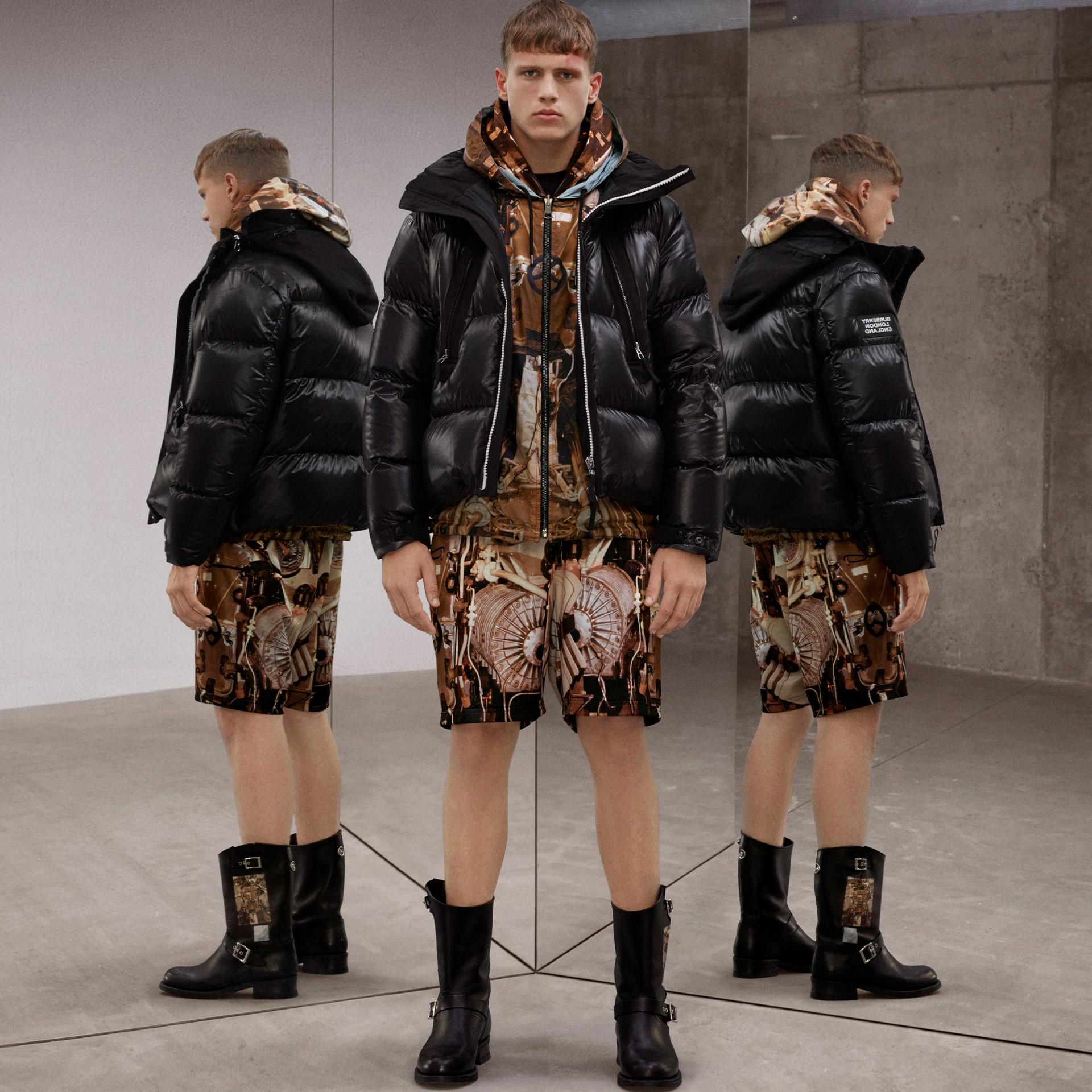 Packaway Hood Puffer Jacket in Black - Men | Burberry - gallery image 1