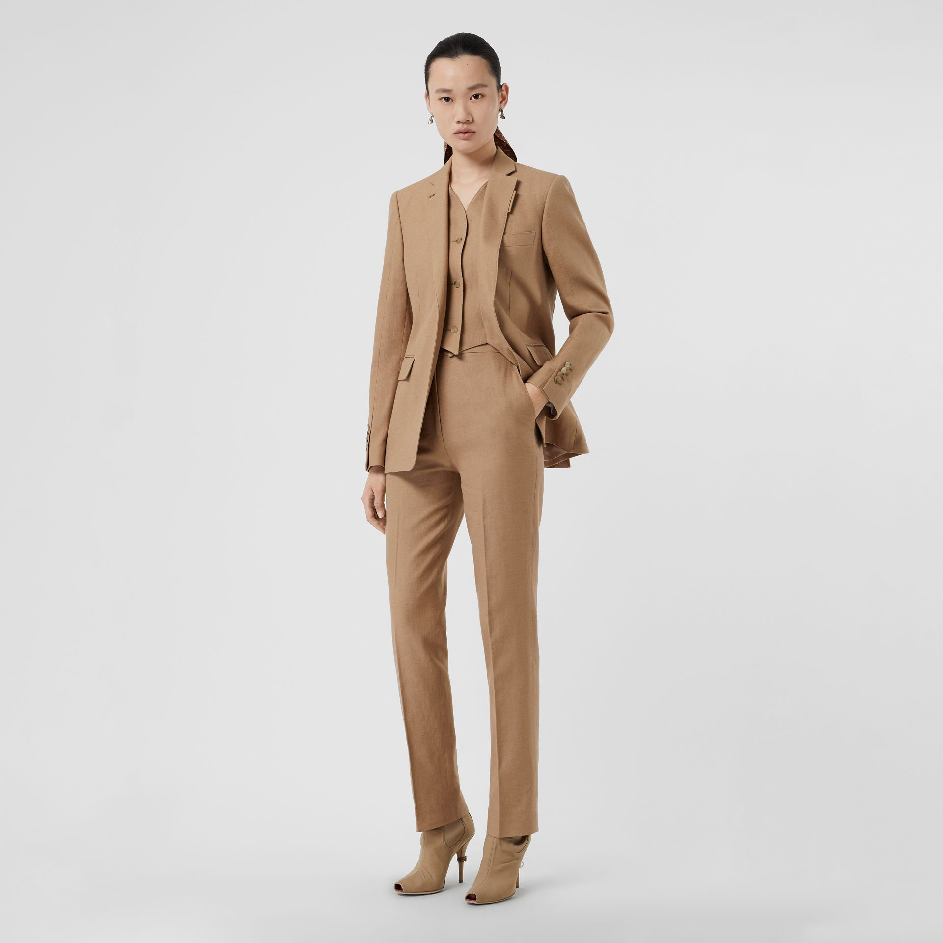 Cotton Linen Tailored Trousers in Ceramic Brown - Women | Burberry Canada - gallery image 0
