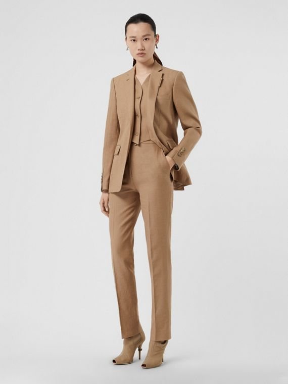 Cotton Linen Tailored Trousers in Ceramic Brown
