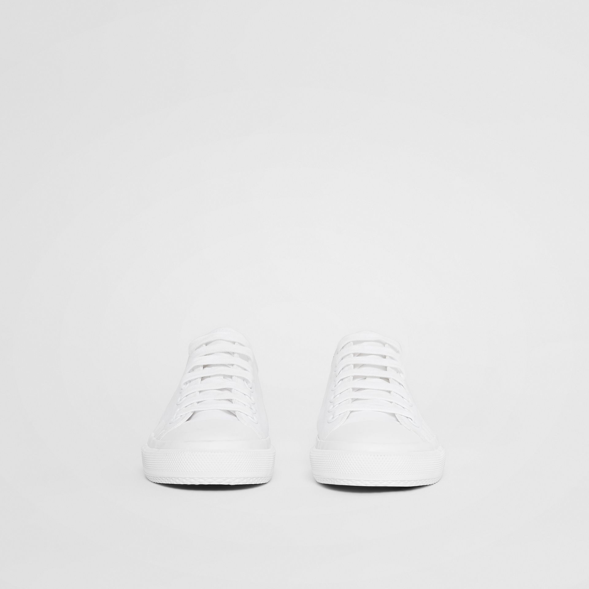 Women's Logo Print Cotton Gabardine Sneakers in Optic White - Women | Burberry United Kingdom - gallery image 3
