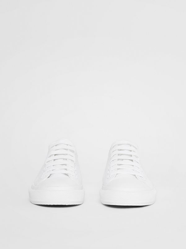 Women's Logo Print Cotton Gabardine Sneakers in Optic White - Women | Burberry - cell image 3
