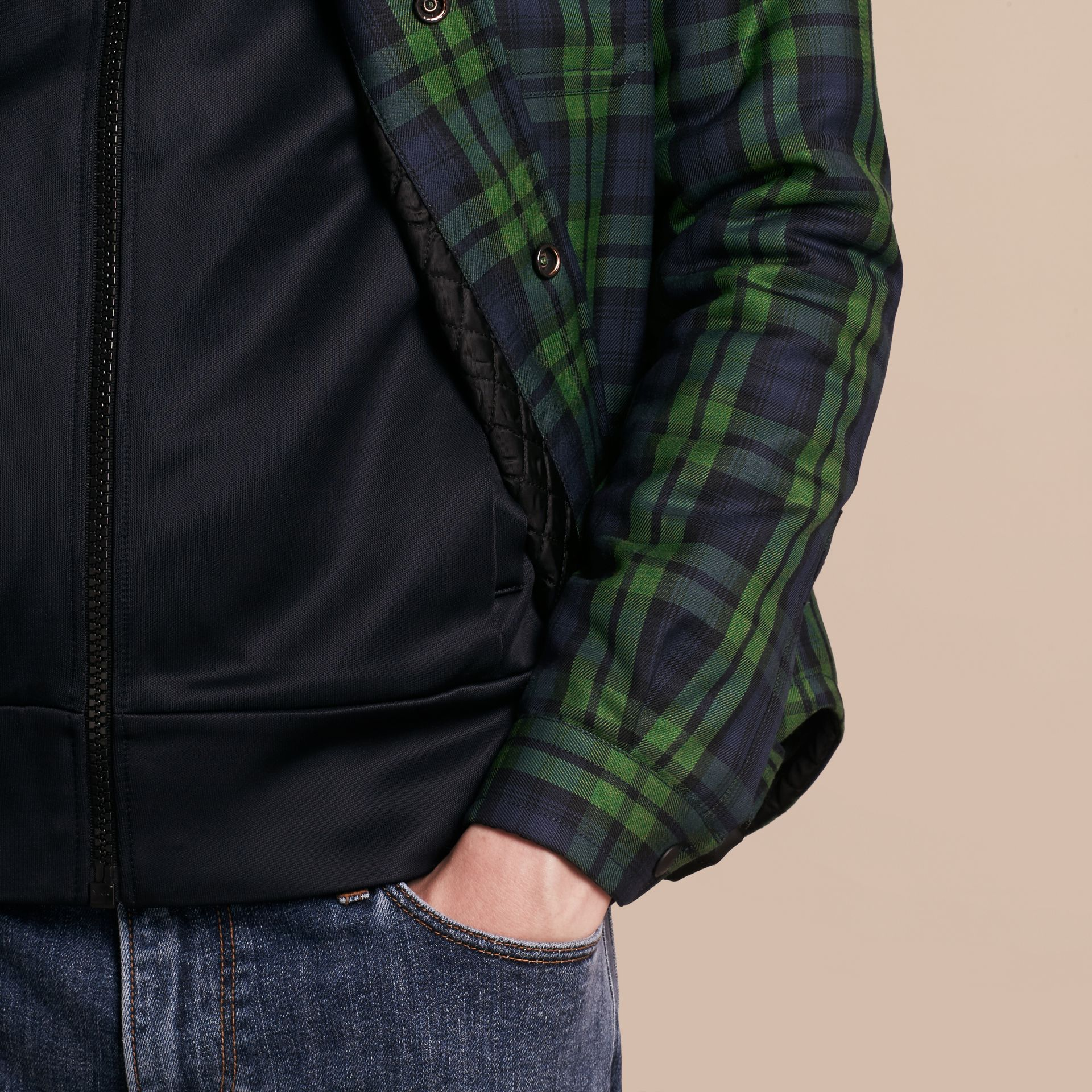 Dark forest green Tartan Wool Wadded Shirt - gallery image 5